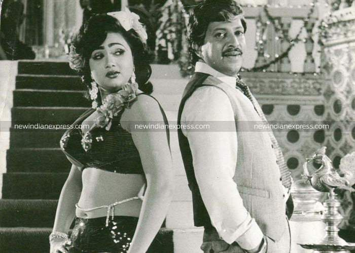 Sandalwood actors Anuradha and Vishnuvardhan in 'Shubhamilana'.