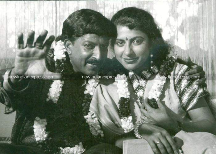 Sandalwood actors Vishnuvardhan and Suhasini in 'Himapatha'.