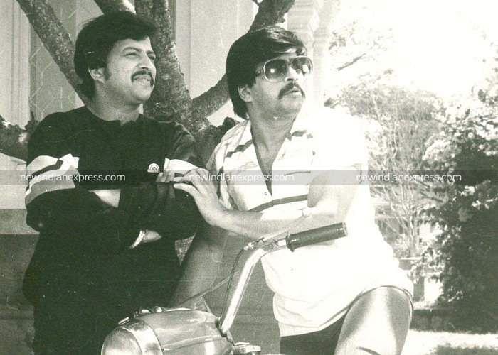 Sandalwood actors Vishnuvardhan and Shankarnag in 'Benki Birugali'.