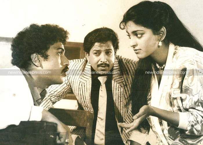 Sandalwood actors Ravichandran, Vishnuvardhan and Juli in 'Premaloka'.