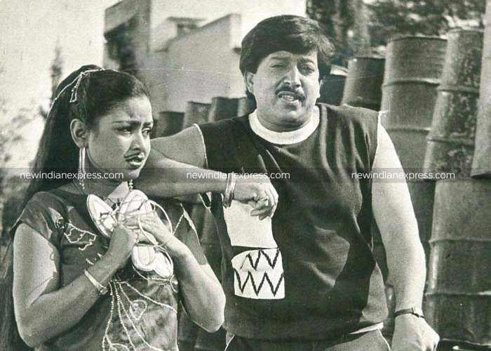 Sandalwood actors Bhavya and Vishnuvardhan in 'Jana Nayaka'.