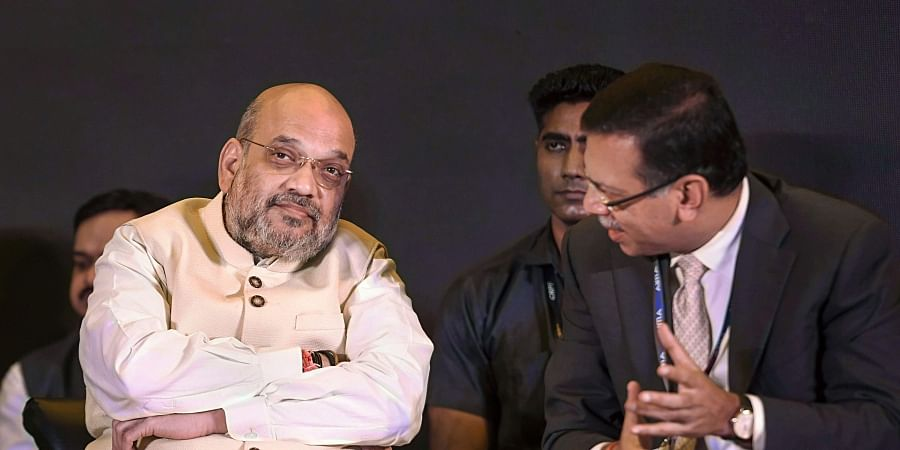 Home Minister Amit Shah and RP-Sanjiv Goenka Group Chairman Sanjiv Goenka during the 46th National Management Convention of the All India Management Association AIMA in New Delhi Tuesday September 17 2019. | PTI