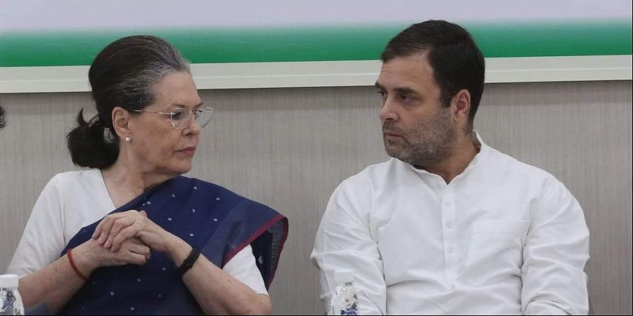 Congress chief Sonia Gandhi with son and party leader Rahul Gandhi in New Delhi.(Photo  Shekhar Yadav/EPS)