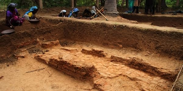 A view of the water channel which was unearthed during the fifth phase of archaeological excavation at Keezhadi in Sivaganga district. (Photo | K K Sundar, EPS)