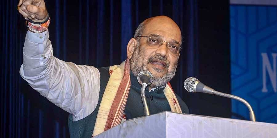 Union Home Minister Amit Shah addresses during the 4th Conclave of the North East Democratic Alliance NEDA in Guwahati Monday September 9 2019.   PTI