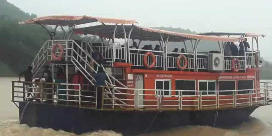 The boat which was capsized at Kachuluru of Devipatnam mandal in East Godavari district. | (Photo | EPS)