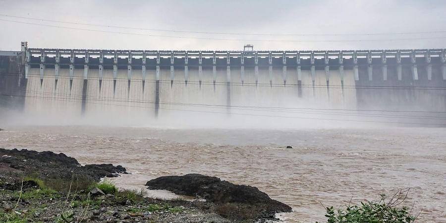 A visual of the Sardar Sarovar dam in Kevadia, Gujarat on 17 September 2019.