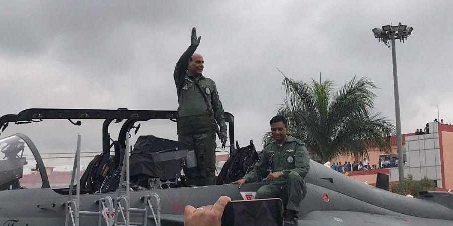 Defence Minister Rajnath Singh on Thursday flew in the Tejas fighter aircraft.