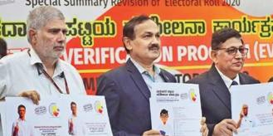 Electors verification program EVP inaugrated by Umesh Sinha and Sanjeev kumar Chief Electoral Officer in Bengaluru.