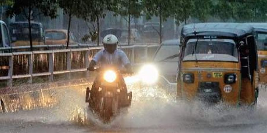 Heavy rain lashed in the city in Visakhapatnam on Sunday evening.