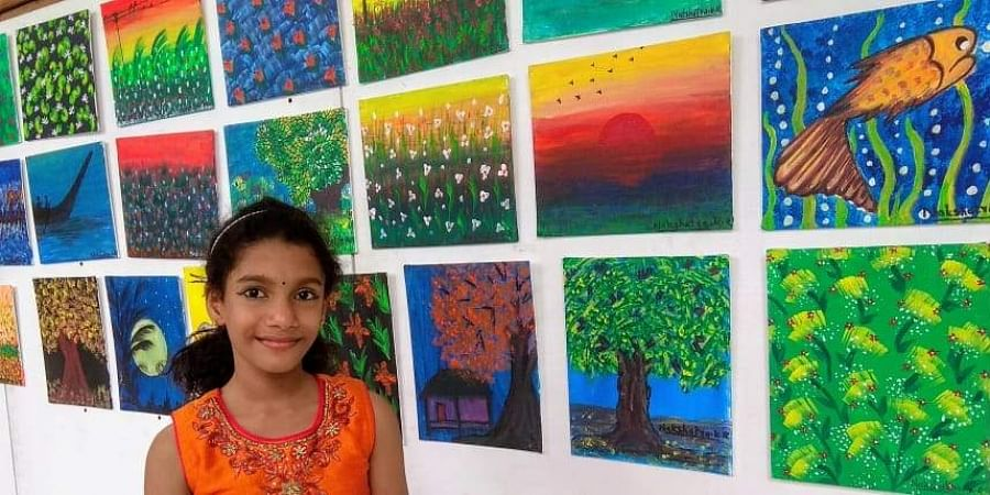 Nakshatra KR drew over 100 paintings, of which 70 have been displayed at Durbar Hall Art Gallery