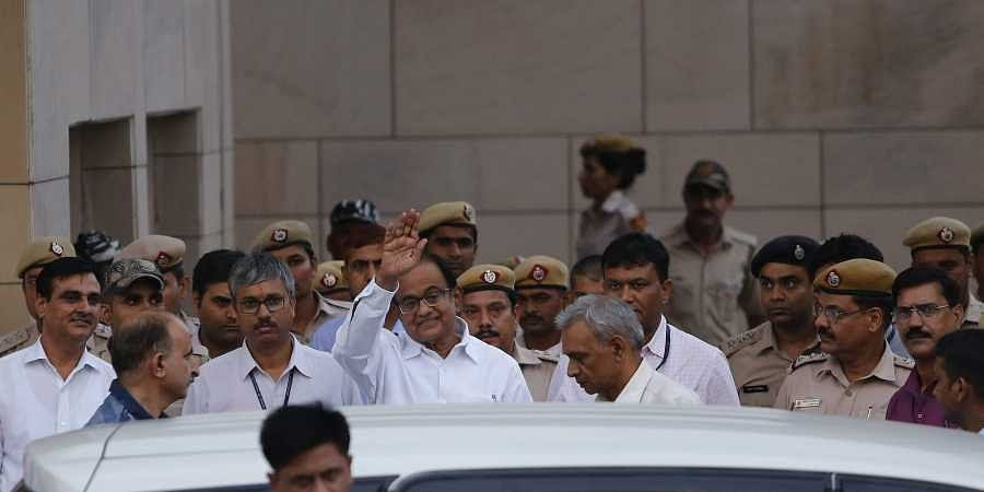 Congress leader and former finance minister P Chidambaram after being produced at Rouse Avenue Court in connection with INX media case in New Delhion September 2, 2019