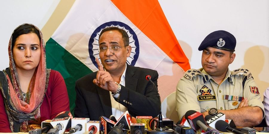 Jammu and Kashmir Government spokesperson Rohit Kansal along with Deputy Inspector General of Police DIG V.K Birdi addresses a press conference on the 29th day of restrictions in Srinagar Monday September 2 2019. | PTI