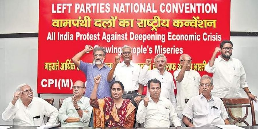Left leaders during a national convention on economy on Friday. | (Praveen Negi | EPS)