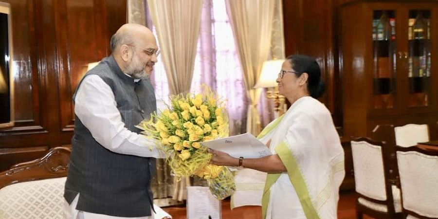 Union Home Minister Amit Shah during a meeting with West Bengal Chief Minister Mamata Banerjee in New Delhi