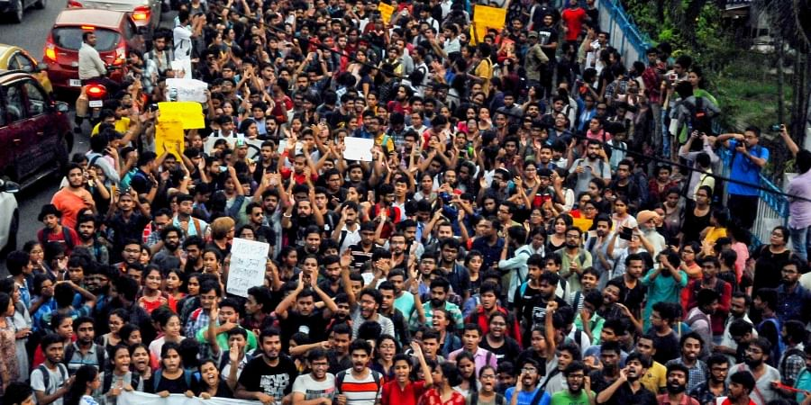 A section of Jadavpur University students participate in a protest march against the violence caused in their campus by ABVP supporters during the visit of Union Minister Babul Supriyo in Kolkata Friday September 20 2019. | PTI
