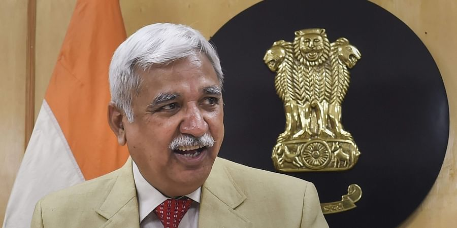 Chief Election Commissioner Sunil Arora arrives for a press conference