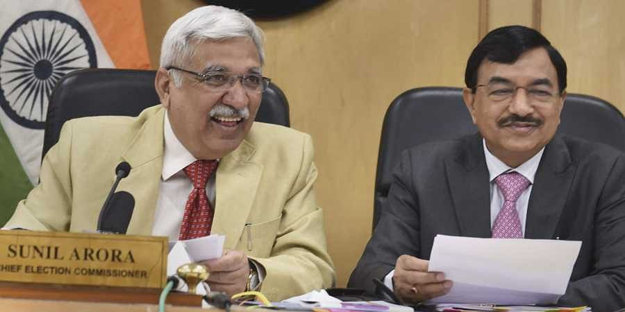 Chief Election Commissioner Sunil Arora with Election Commissioner Sunil Chandra R during a press conference