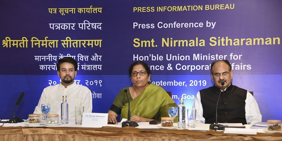 Finance Minister Nirmala Sitharaman addresses a press conference ahead of the 37th meeting of the GST Council in Panaji Friday September 20, 2019. MoS Finance Anurag Thakur and Revenue Secretary Ajay Bhushan Pandey are also seen. | (Photo | PTI)