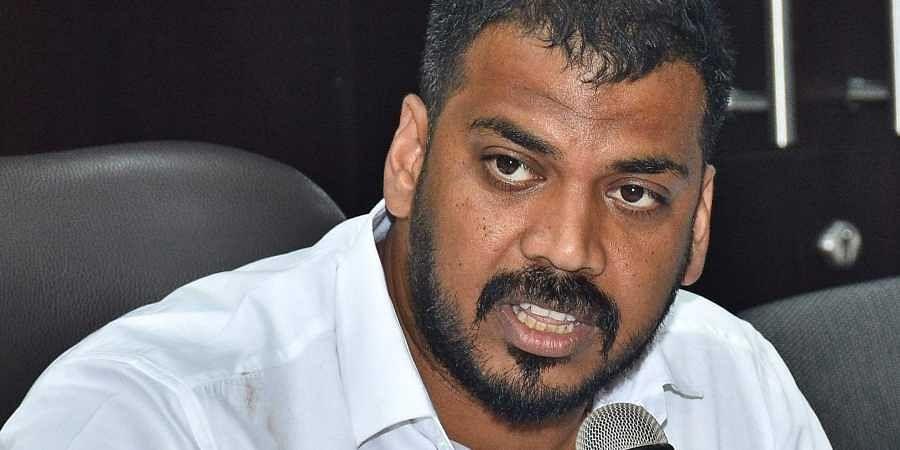 Andhra Pradesh Minister for Irrigation Anil Kumar Yadav addressing media during a press meet in Vijayawada.