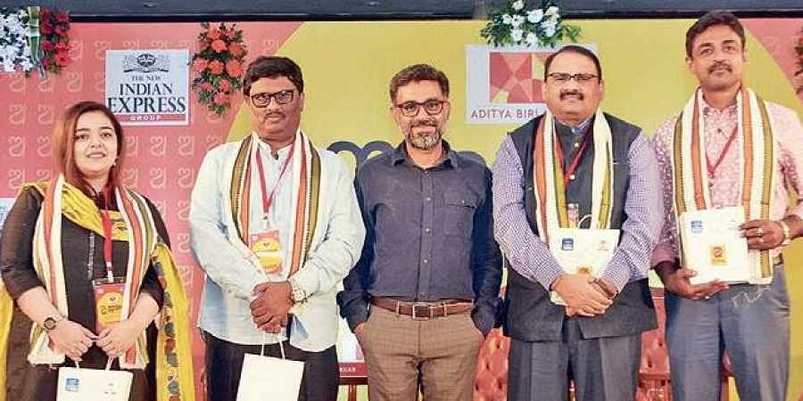 Deputy Resident Editor of TNIE Siba Mohanty with writers Tarab Khan, Gourahari Das, Debashis Panigrahi and Saqti Mohanty at a session on Odia literature.