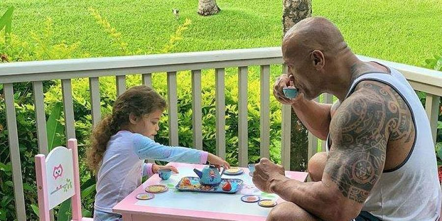 Hollywood actor Dwayne Johnson with his daughter Jasmine Lia.