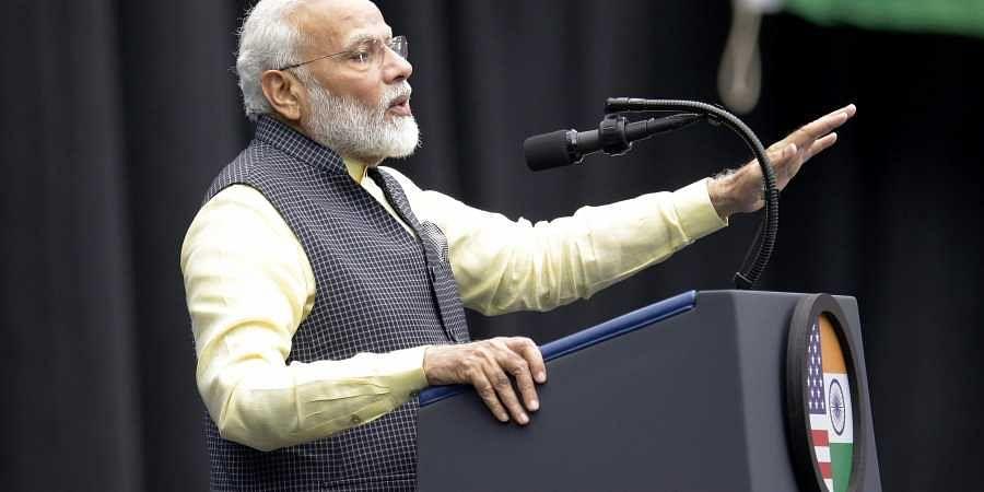 India Prime Minister Narendra Modi speaks during the 'Howdi Modi' event Sunday, September 22, 2019, at NRG Stadium in Houston. | (Photo | AP)