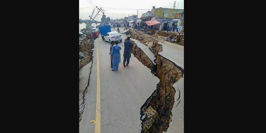 A view of damaged roads after a 5.8-magnitude earthquake rocked Pakistan-occupied Kashmir Tuesday Sept. 24 2019. Nearly 50 people including women and children were injured during the earthquake.