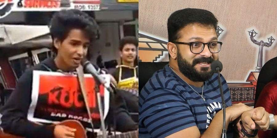 Screengrab of the boys who performed live on Kochi streets to drive people's attention towards the deplorable state of city roads (L) and Mollywood actor Jayasurya