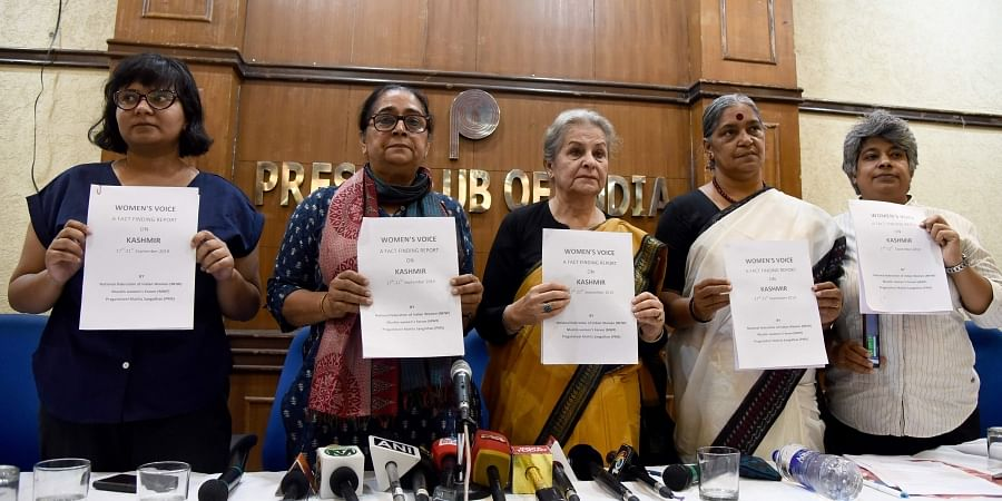 Womens organisations activists Syeda Hameed Annie Raja Poonam Kaushik Kawaljeet Kaur and Pankhuri Zaheer releases a fact finding report on the situation of Kashmir Valley during a press conference in New Delhi on Tuesday September 24, 2019. | (Parveen Neg