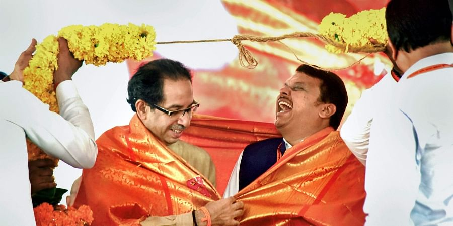 Shiv Sena Party President Uddhav Thackeray and Maharashtra Chief Minister Devendra Fadnavis in Mumbai. (Photo| PTI)