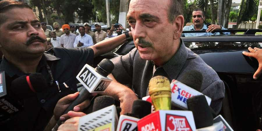 Senior Congress leader Ghulam Nabi Azad speaks to the media persons in Jammu
