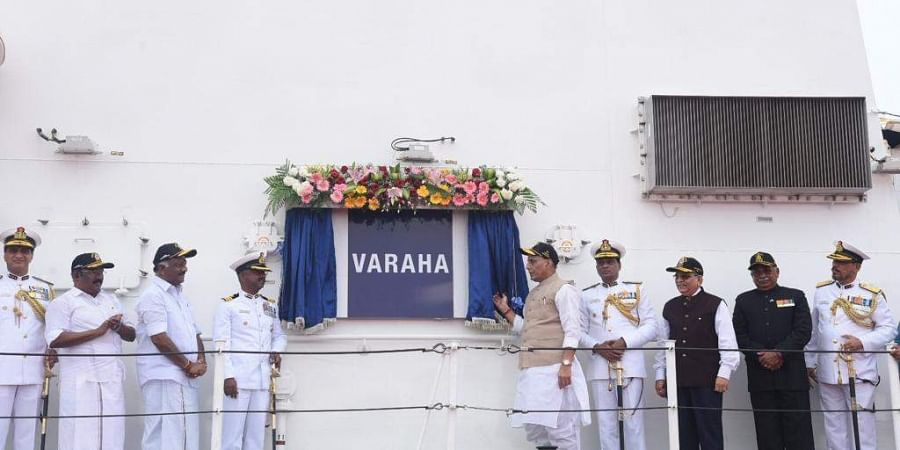 Defence minister Rajnath Singh at Commissioning ceremony of Indian Coast Guard Ship ICGS Varaha atChennai Port Trust, in Chennai.
