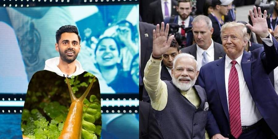 Stand-up comedian Hasan Minhaj (L) and PM Narendra Modi with US President Donald Trump at 'Howdy Modi' rally in Houston.