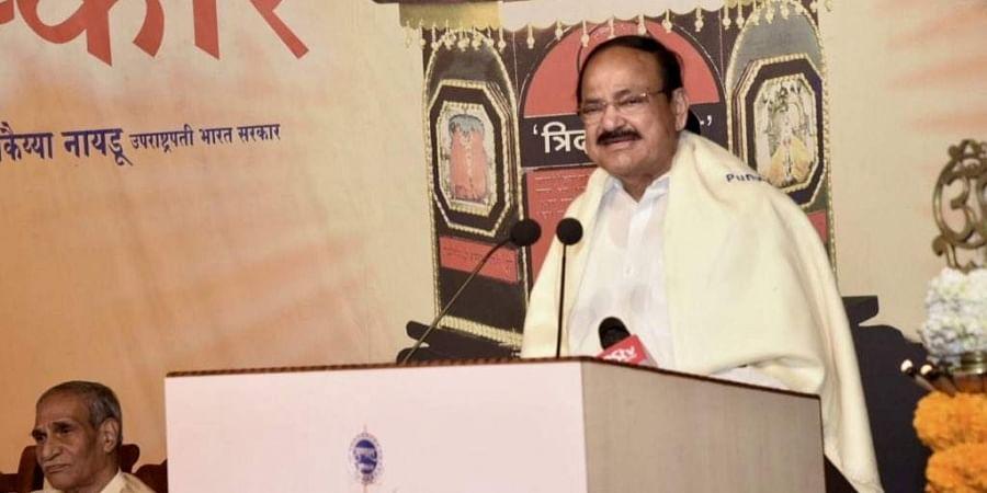 VP Venkaiah Naiduwas speaking at the 'Punyabhushan' award ceremony. (Photo | Twitter/VPSecretariat)
