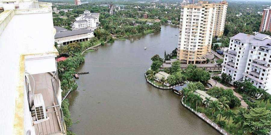 An aerial view of Holy Faith H2O, one of the four apartment complexes at Maradu which was ordered to be demolished by the Supreme Court