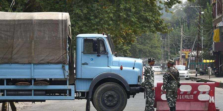 Security personnel block a road leading to Lal Chowk during restrictions in Srinagar Friday Sept. 27 2019. | (Photo | PTI)