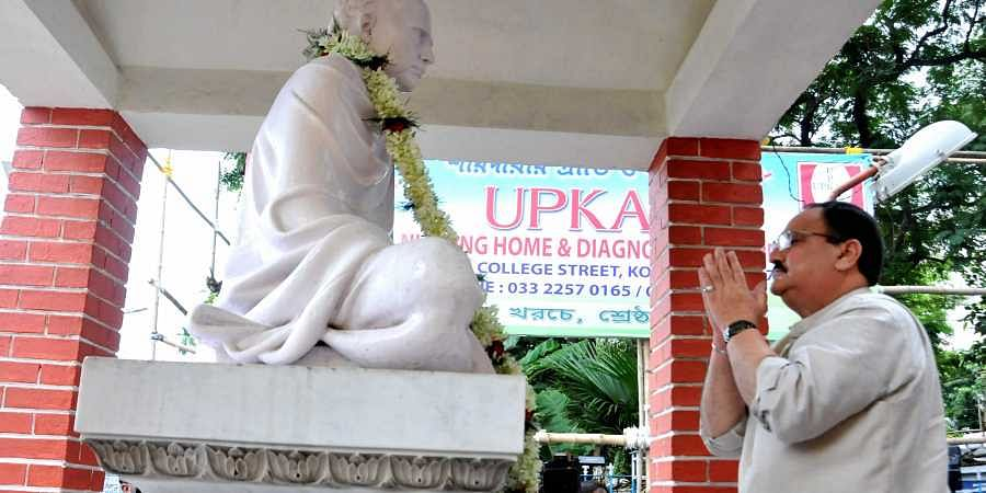 BJP Working President Jagat Prakash Nadda pays tribute to social reformer Ishwar Chandra Vidyasagar during his ongoing 200th birth anniversary celebrations at College Square in Kolkata Saturday Sept.28 2019. | (Photo | PTI)