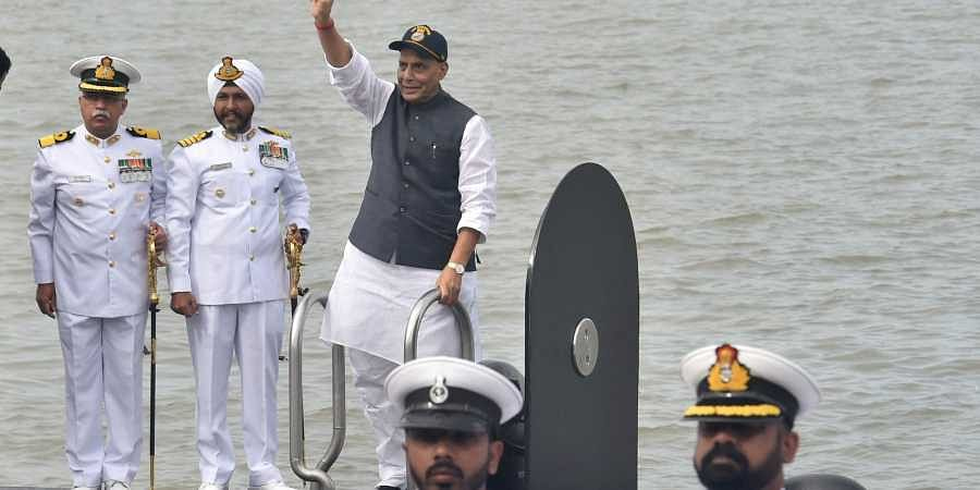 Defence Minister Rajnath Singh during the commissioning ceremony of Scorpene class submarine INS Khanderi at Naval Dockyard in Mumbai Saturday Sept. 28 2019. | (Photo | PTI)