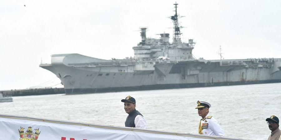Defence Minister Rajnath Singh during the commissioning ceremony of Scorpene class submarine INS Khanderi at Naval Dockyard in Mumbai Saturday Sept. 28 2019.   (Photo   PTI)