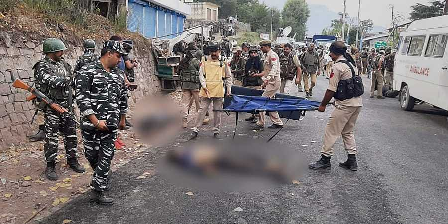 Army CRPF and Police jawans after an encounter with the terrorists at Batote in Ramban district of Jammu and Kashmir.