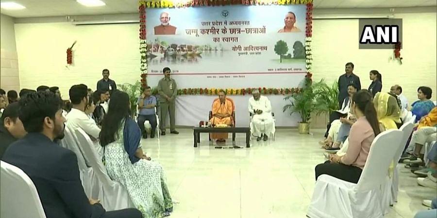 UP CM Yogi Adityanath interacting with Kashmiri students from J&K in Lucknow.