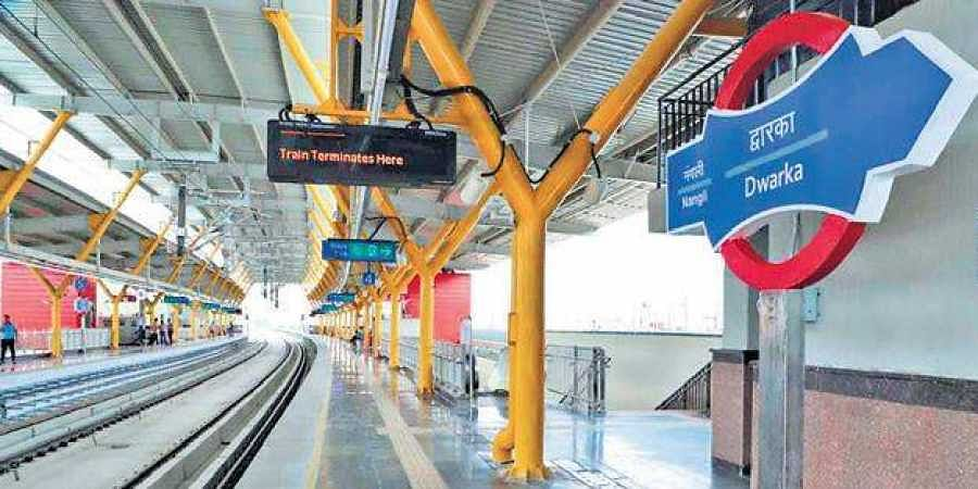The new station at Dwarka on the DMRC's Grey Line.