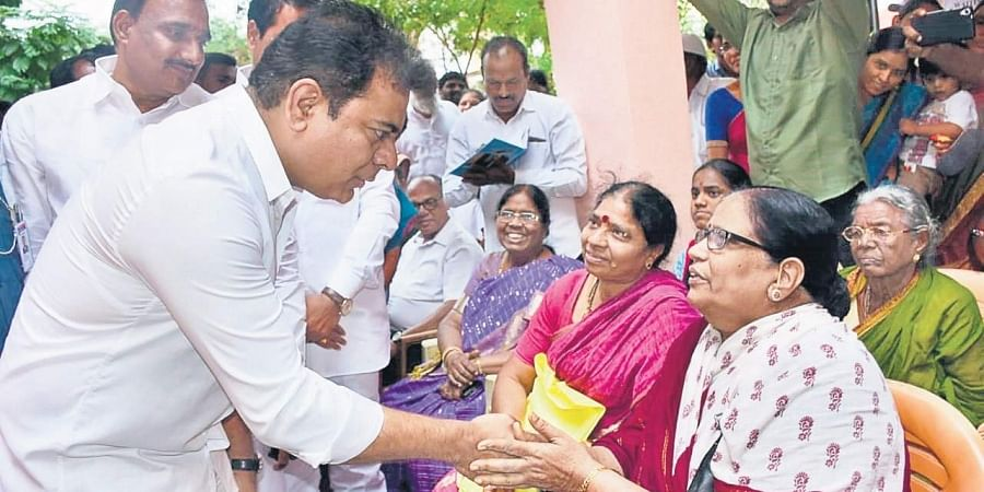 IT minister KT Rama Rao interacts with senior citizens at a Kanti Velugu camp in Hyderabad.