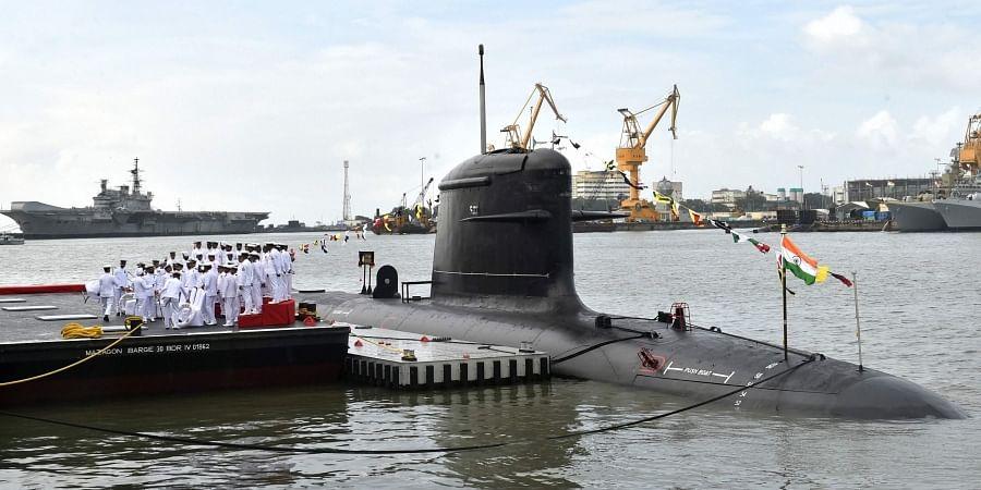 A view of newly commissioned Scorpene class submarine INS Khanderi at Naval Dockyard in Mumbai Saturday Sept. 28 2019. | (Photo | PTI)