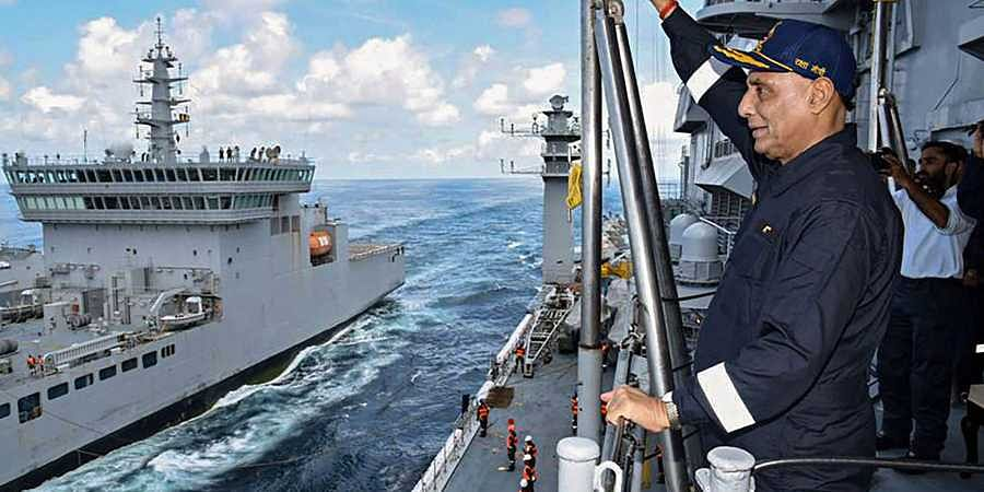 Union Defence Minister Rajnath Singh on board the aircraft carrier INS Vikramaditya which is currently sailing along India's western coastline