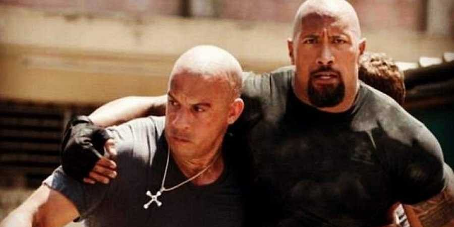 Hollywood actors The Rock and Vin Diesel in 'Fast & Furious'.