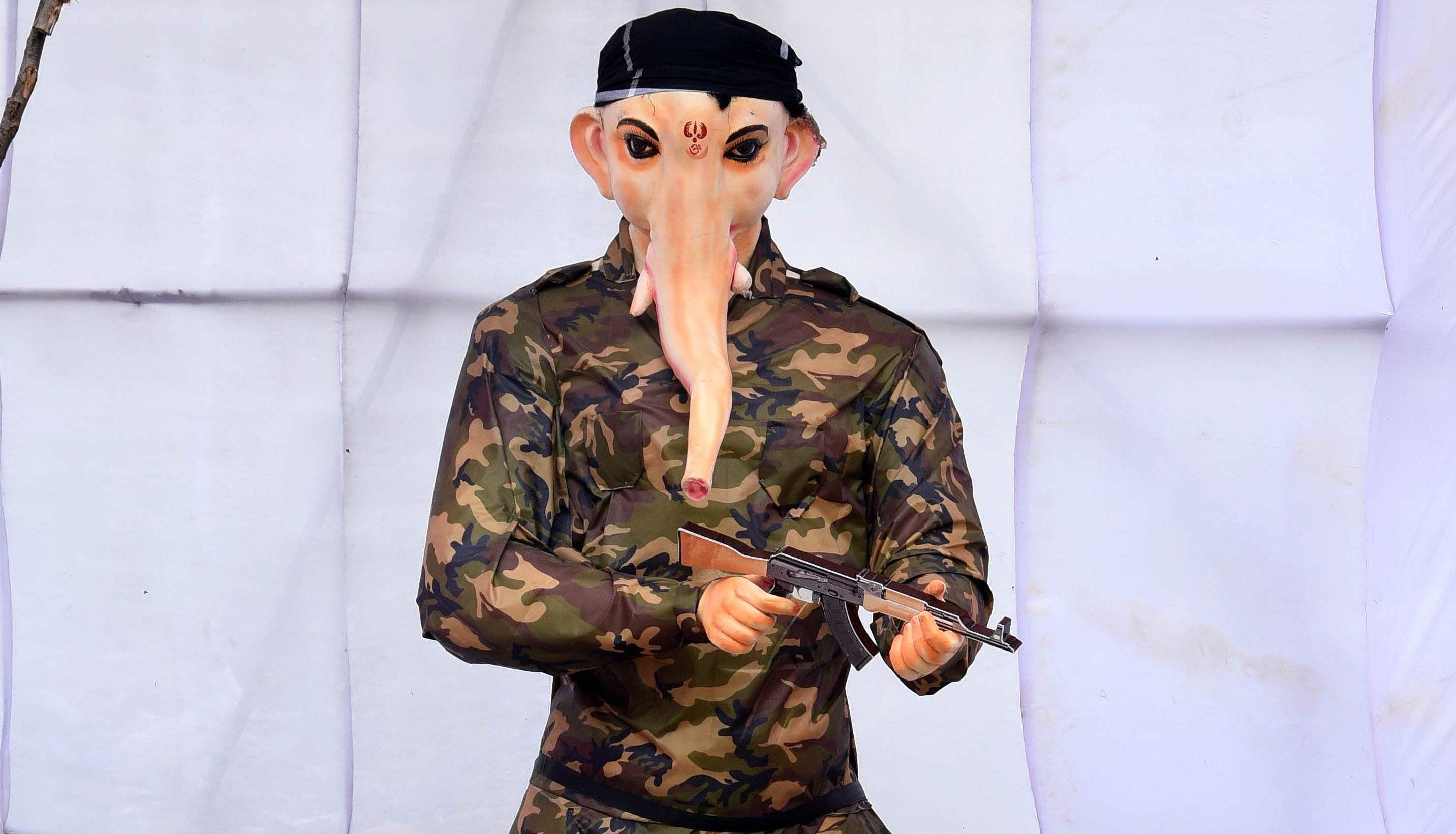 Military dressed Vinayagar on display at Pudupet for the Vinayagar chaturthi festival in Chennai on Monday. (Photo | EPS/R.Satish Babu)