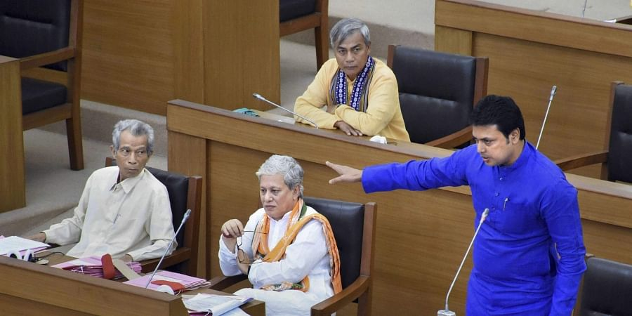 Tripura Chief Minister Biplab Kumar Deb addresses the State Assembly in Agartala Tuesday September 3 2019. | PTI