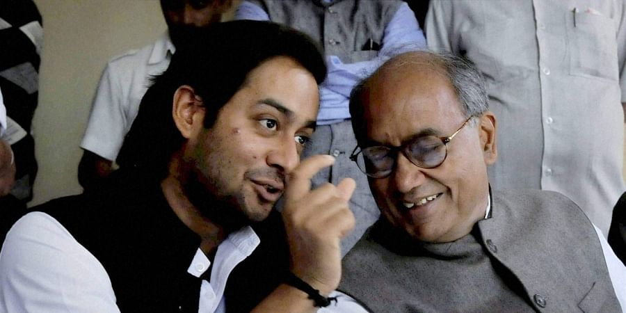 Digvijay Singh with his son Jaivardhan Singh (File Photo | PTI)